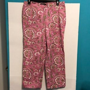 Talbots size 6 paisley pink multi color ankle pant